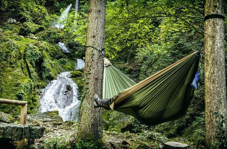 Double hammock as a gift for camping obsessed couple