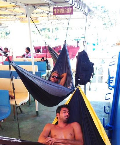Using the lightweight hammock to sleep while travelling