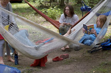 Younfsters while in the hammock camping moment